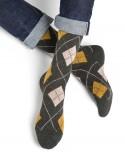 Chaussettes laine cachemire motifs losanges