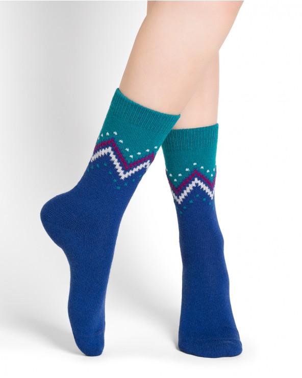 Chaussettes laine cachemire motif zigzag