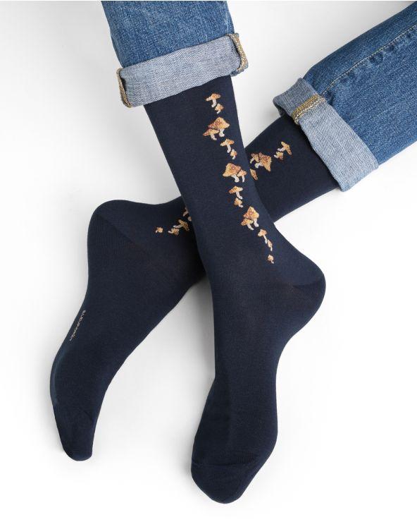 Chaussettes coton motifs champignons