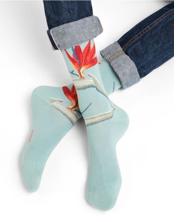 Chaussettes coton motif fleurs tropicales