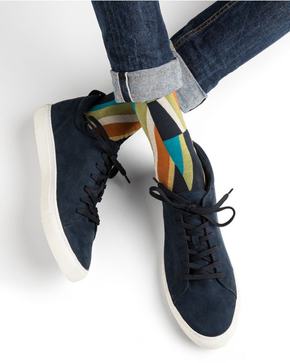 Chaussettes coton motif diagonales multicolores