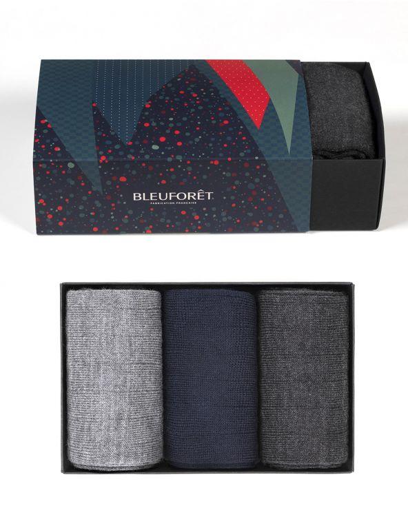 Coffret cadeau laine fine - Noir/marine/gris