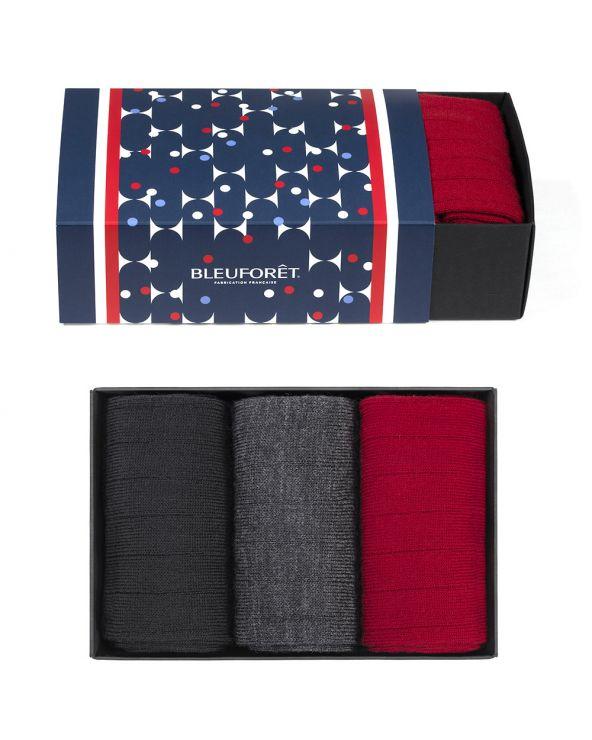 Coffret cadeau laine fine - Noir/gris/rouge