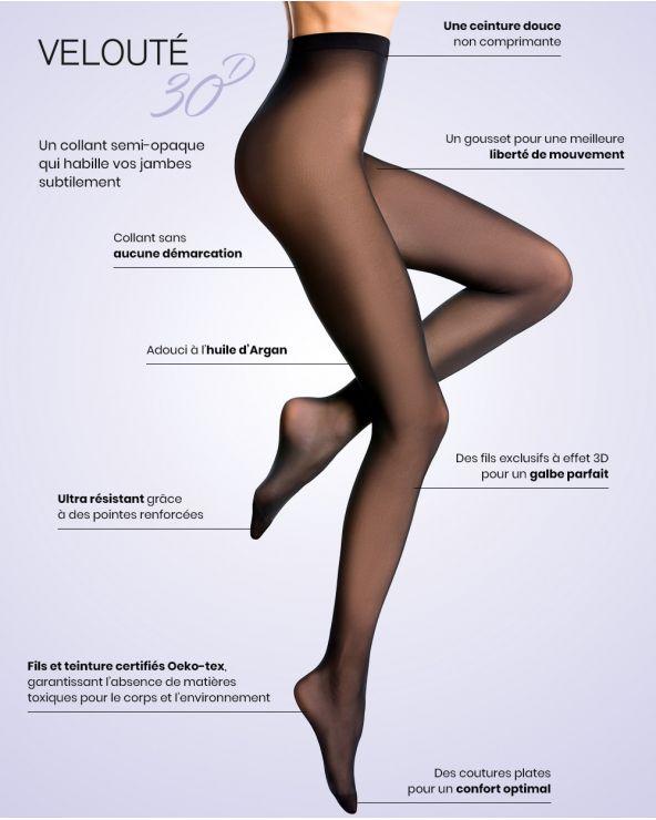 Semi-ondoorzichtige gestippelde 30D panty - Excellence