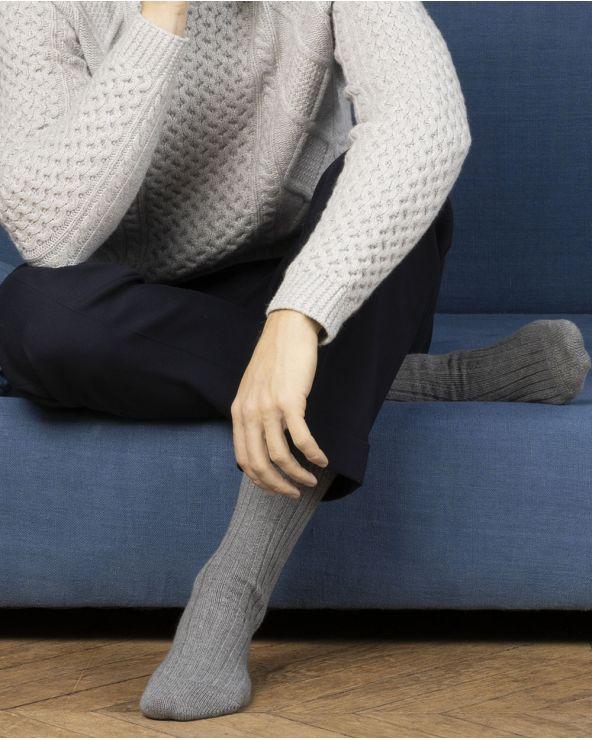 Sokken kasjmier geribd