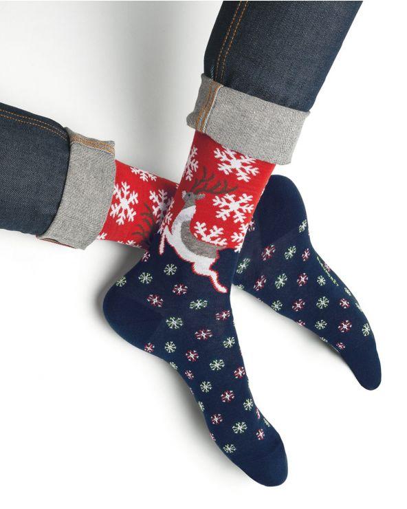 Chaussettes Coton Motif Rennes de Noël